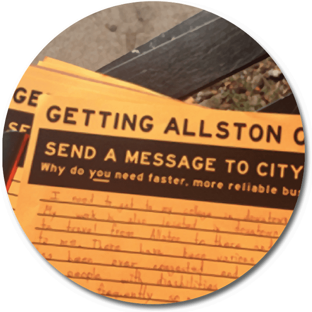 """photo of an orange flyer with black text on it with a title saying """"Send a Message to City Hall"""""""